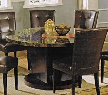 Amazoncom Round Dining Table with Marble Top in Espresso Finish