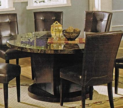 Acme Furniture Round Dining Table With Marble Top In Espresso Finish