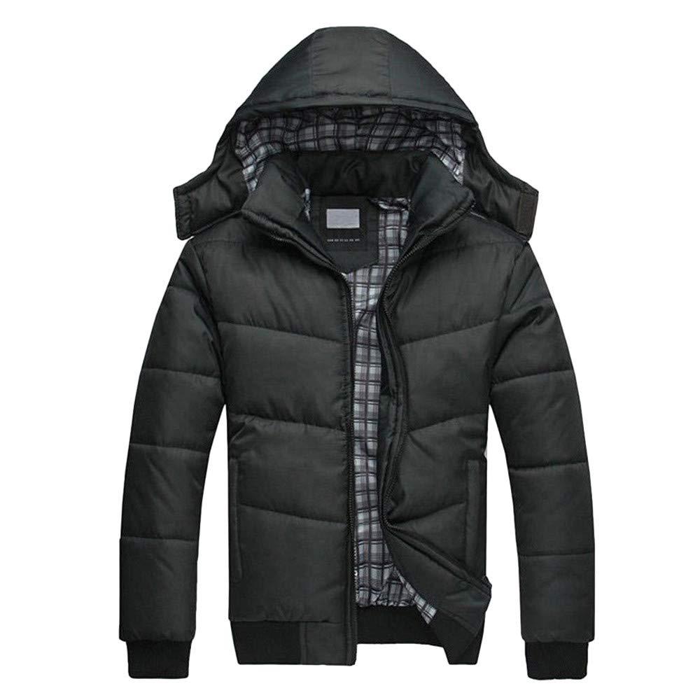 Dacawin Men's Winter Coat Sale Black Puffer Jacket Warm Padded Hooded Down Winter Coat by Dacawin