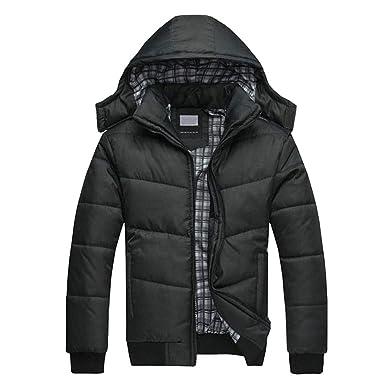 ... Hombre, Btruely Chaqueta Casual Negro para Hombre Abrigo Caliente Cálido Abrigo Acolchado con Capucha Abajo Abrigo de Invierno Sudaderas Deporte: ...