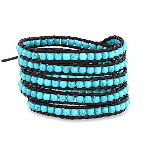 chen-rai-5-row-blue-wrap-bracelet-on-brown-leather