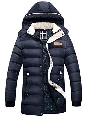 Domple Mens Quilted Hooded Stand Collar Warm Long Down Jacket Coat Blue XS