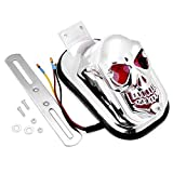 1x Custom Chrome Plated Skull Skeleton Tombstone Tail Rear Brake Running Light For Cruiser Bobber Café Racer Touring Bike Motorcycle