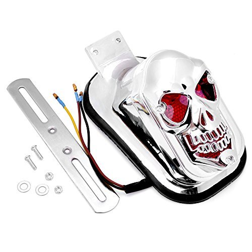 Price comparison product image 1x Custom Chrome Plated Skull Skeleton Tombstone Tail Rear Brake Running Light Universal Fit Motorcycle