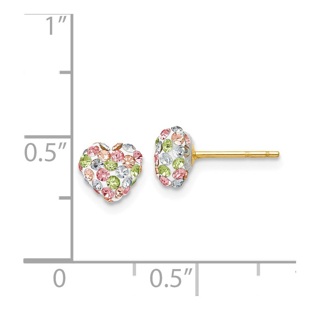 14K Yellow Gold Jewelry Cluster Earrings Solid 6 mm 6 mm Pastel Multi-colored Crystal 6mm Heart Post Earrings