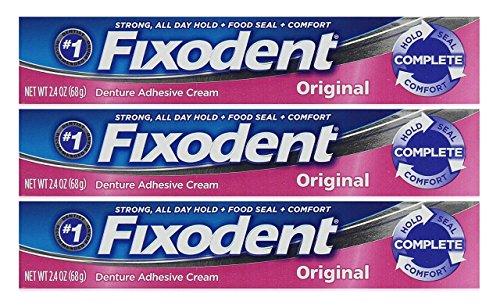 (Fixodent Denture Adhesive Cream Original 2.4 oz Set of 3 )