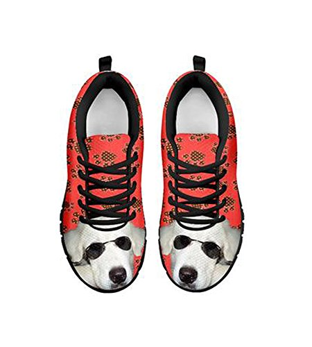 By Customized Designed Casual Print Dog Sneakers Peek Alice Women's Black rRqvr4wxY