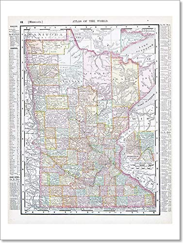Barewalls Antique Color Map Minnesota Mn United States, USA Paper Print Wall Art (16 in. x 12 in.)