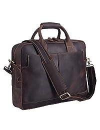 BAIGIO Genuine Leather Briefcase for Men 15.6 Inch Laptop Messenger Tote Mens Shoulder Bag, Dark Brown