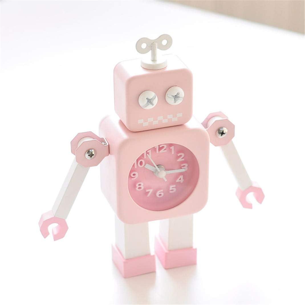 FENGCLOCK Reloj Despertador con Robot, Reloj de cabecera Infantil Que no Hace tictac, Reloj de Mesa electrónico de Silencio de sobremesa Lindo para Estudiantes,Rosado: Amazon.es: Hogar