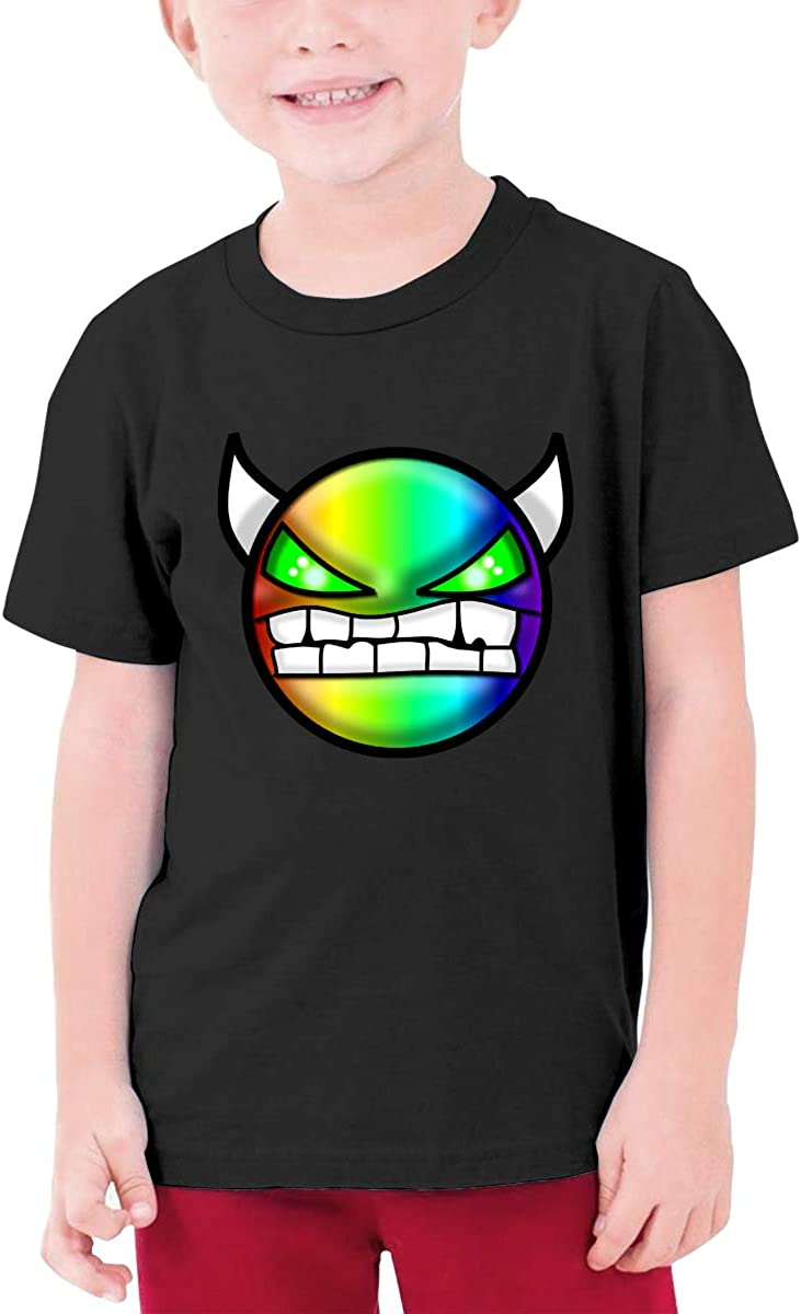 Geometry Dash Teenage Boys Girls T-Shirt Unisex Short Sleeve Tee Tops Black