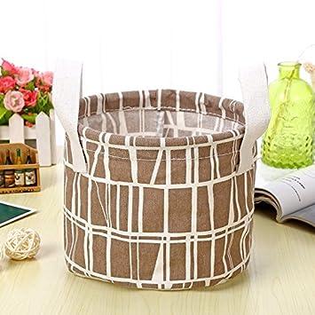 YAzNdom Cestas de Almacenamiento, pequeñas cestas de algodón y Lino Frescas, cestas de cestos, Cajas de Almacenamiento de Escritorio con cestas de Almacenamiento de Tela con Asas (Color : Chocolate): Amazon.es: Equipaje
