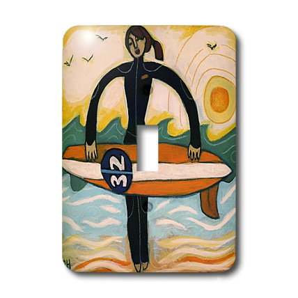 Surfer Photograph - 3dRose LLC lsp_21214_1 Surfer Girl Outdoors Recreation Woman Surf Ocean - Single Toggle Switch