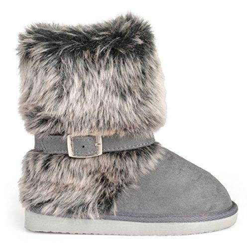 Brinley Co Kids Buckle Accent Faux Fur Boots Grey 11 -