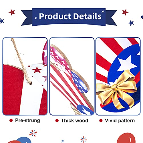 4th of July USA Hanging Wooden Door Sign Uncle Sam Patriotic Hat Wall Decor Hanging Wreath Sign Welcome Sign Perfect For Independence Day Memorial Day Patriotic Decoration Farmhouse,Porch,Garden,Front Door(11.8 X 11.8 inch)