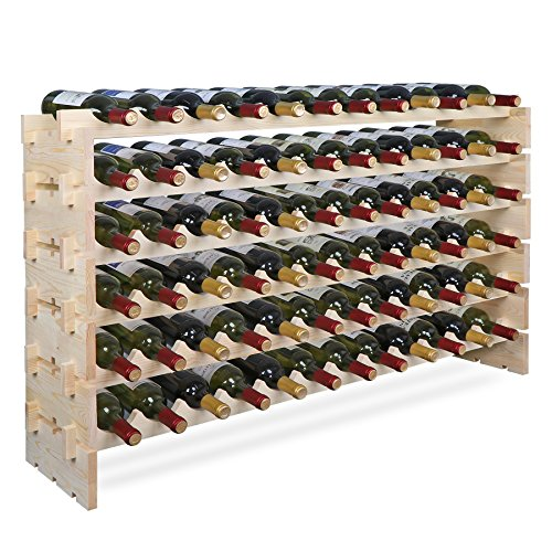 Smartxchoices 72 Bottle Stackable Modular Wine Rack Wine Storage Rack Solid Wood Wine Holder Display Shelves, Wobble-Free (Six-Tier, 72 Bottle Capacity)