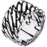BOHG Jewelry Mens Wide 12mm Link Chain Stainless Steel Ring Vintage Biker Wedding Band Silver Black