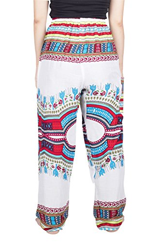 Hippie Pantaloni Da Casual Harem Taglia Donna Unica Bianco Dashiki Boemo Lofbaz Coulisse F0wWqxHd0g