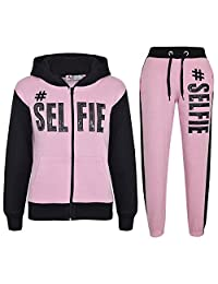 a2z4kids Kids Girls Tracksuit #Selfie Print Hoodie & Bottom Jog Suit New Age 7-13 Years
