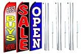 Best buys here sale Open King Swooper Feather Flag Sign Kit With Complete Hybrid Pole set- Pack of 3