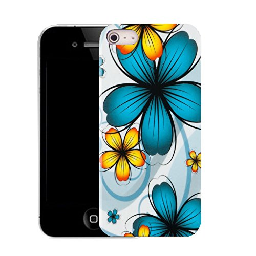 Mobile Case Mate IPhone 4 clip on Silicone Coque couverture case cover Pare-chocs + STYLET - daisy aqua bunch pattern (SILICON)