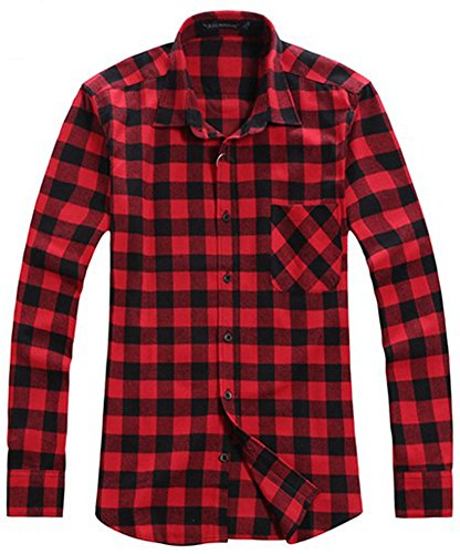 Benibos Men's Classic Long Sleeve Plaid Flannel Shirt (US:M- / Asia XL, Red Black)