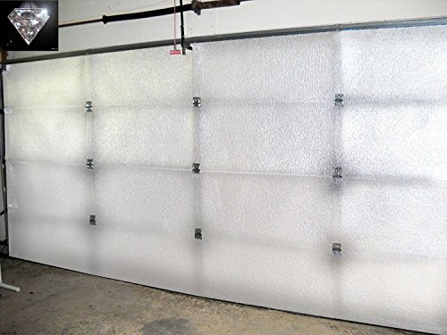 Foam Tech Insulation (NASA Tech White Reflective Foam Core 2 Car Garage Door Insulation Kit 18FT (WIDE) x 8FT (HIGH) Adds R Value made in USA New and Improved Heavy Duty Double Sided Tape (ALSO FITS 18X7))