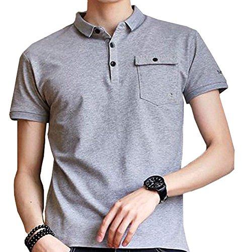 U-Young メンズ シャツ POLO シャツ半袖 夏 カジュアル 無地 UVカット 綿 ポケット 無地 カジュアルシャツ 通気性 薄手 吸汗速乾 ゴルフウェア 開襟シャツ