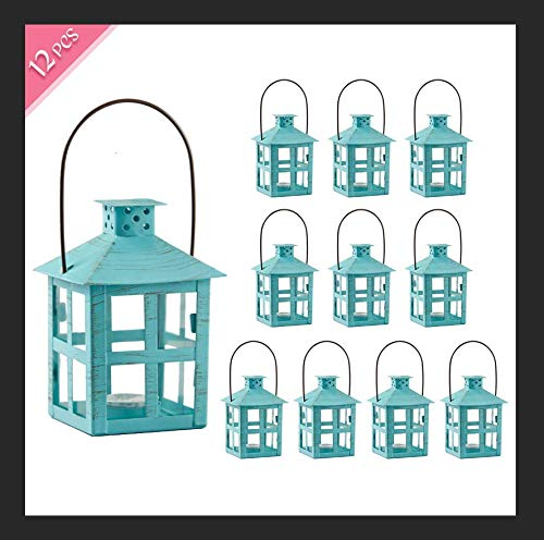 Kate Aspen Mini Decorative Lantern,Vintage Metal Tealight Candle Lanterns, Centerpiece for Wedding Table, Accent Piece & Party Favor, Turquoise - 12 Sets(Small) (Pieces Accent Teal)
