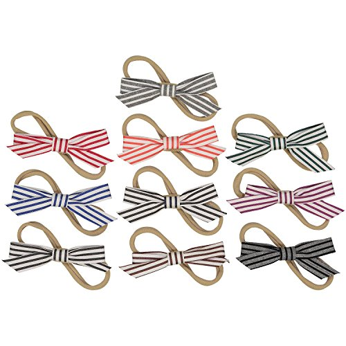(Striped Bows on Nylon Baby Headbands For Newborn and Baby Girls - 10 Piece Pack)