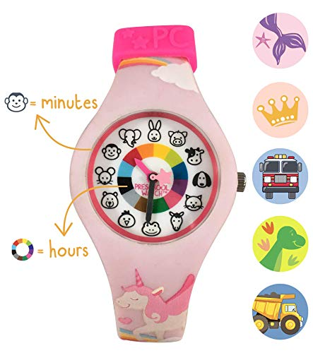Unicorn Preschool Watch - The Only Kids Watch Preschoolers Understand! Quality Teaching time Silicone Watch with Glow-in-The-Dark Dial & Japan ()