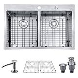 "MOWA HTD33DE Upgraded Perfect Drainage Handmade 33"" 16 Gauge Stainless Steel Topmount 50/50 Double Bowl Kitchen Sink, Modern Tight-Radius Style & Commercial Deep Basin, w/Drain Set + Soap Dispenser"