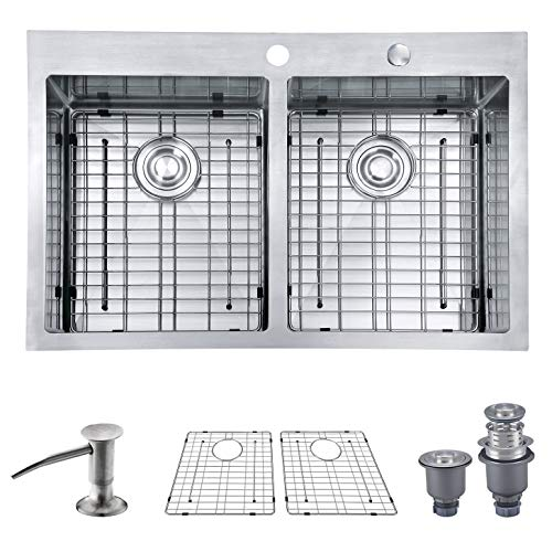 MOWA HTD33DE Upgraded Perfect Drainage Handmade 33'' 16 Gauge Stainless Steel Topmount 50/50 Double Bowl Kitchen Sink, Modern Tight-Radius Style & Commercial Deep Basin, w/Drain Set + Soap Dispenser by MOWA (Image #10)