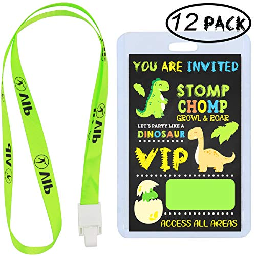 Dinosaur Party Invitations Supplies, Dino Party Favors VIP Pass Lanyards, Cards and Card Holders for Kids Birthday Party Decorations (12 Pack) -