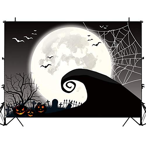 Allenjoy Halloween Nightmare Themed Backdrop Horror Night Full Moon Pumpkin Jack Theme Baby Shower Birthday Party Wall Table Decor 7x5ft Spider Web Flying Bat Photography Backdground Photo Booth Props]()