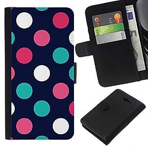 For Sony Xperia M2 Case , Dot Navy Blue Pink Orange Teal - la tarjeta de Crédito Slots PU Funda de cuero Monedero caso cubierta de piel