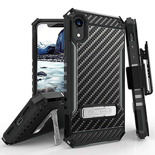 Beyond Cell TriShield Series Compatible with iPhone XR, Military Grade Drop Tested (MIL-STD 810G-516.6) Kickstand Shockproof Case with Rotating Belt Clip Holster - Carbon Fiber Case Carbon Fiber Belt Clip