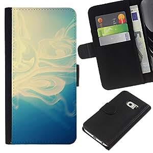 YiPhone /// Tirón de la caja Cartera de cuero con ranuras para tarjetas - Motif bleu - Samsung Galaxy S6 EDGE
