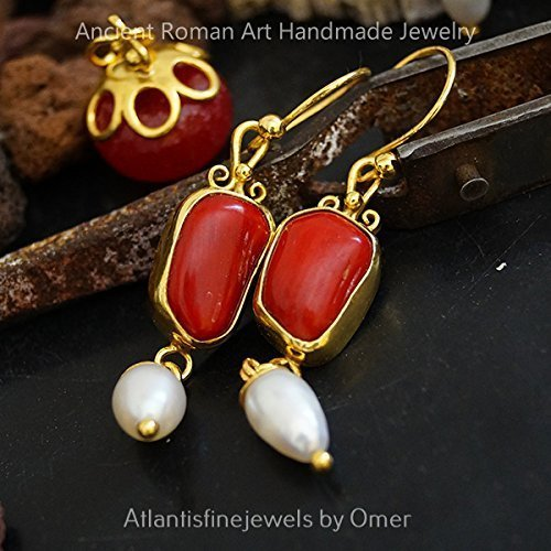 Omer Unique Red Coral & Pearl Earrings 24k Gold Over Sterling Silver Bezel Coral Earrings