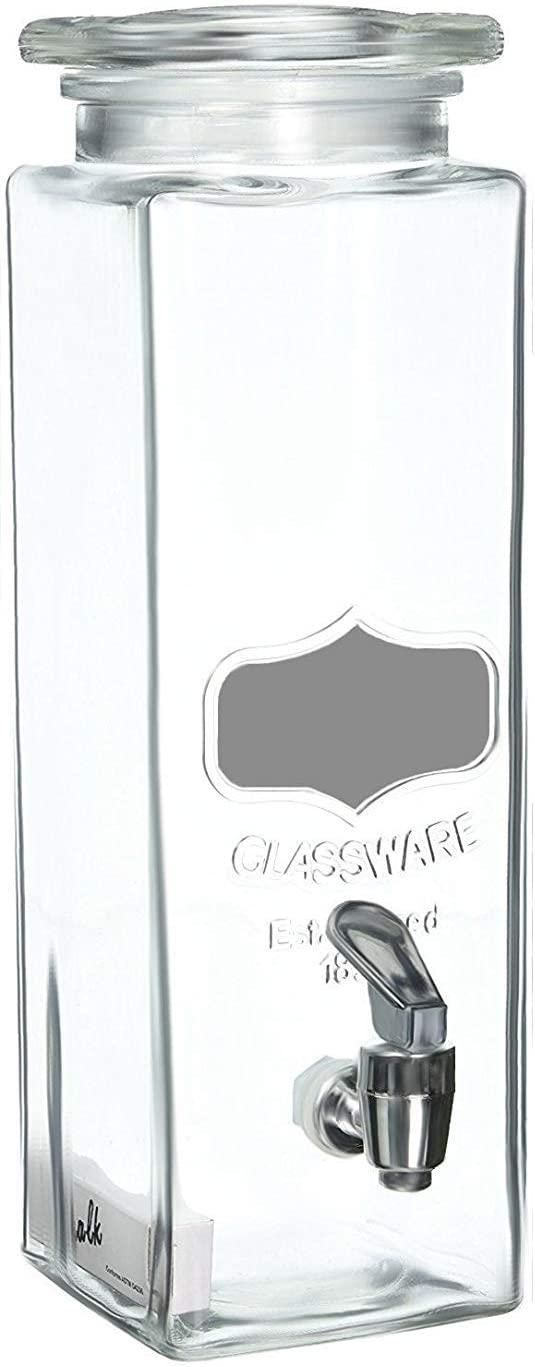 Circleware Tall Square Mason Jar Glass Chalkboard Beverage Dispenser, New Fun Party Home Entertainment Glassware Water Pitcher for, Juice, Beer, Punch, Iced Tea & Cold Drinks, 2.5 Quarts, Silver