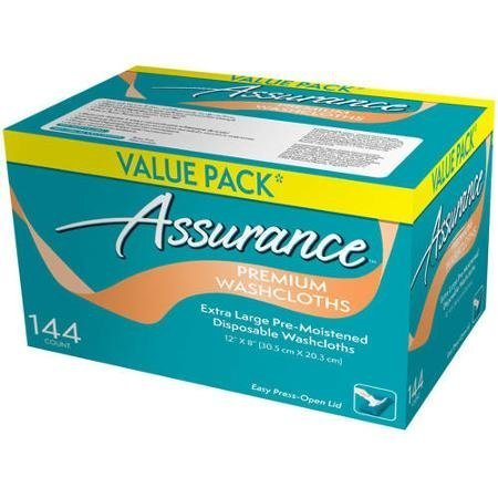 Assurance Premium Washcloths Value Pack 144 Count Carton (4-Carton Multipack 576 Washcloths Total)