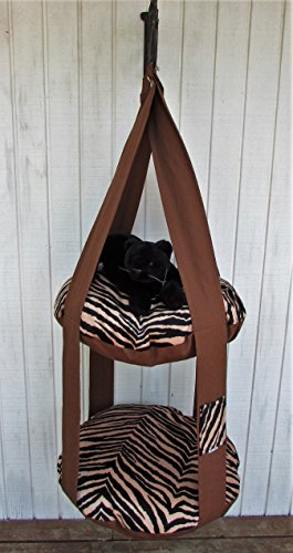Cat Bed, Brown, Gold & Black Tiger Print Kitty Cloud, Double Hanging Cat Bed, Pet Furniture, Pet Bed, Cat Gift, Cat Tree