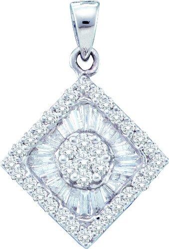 Or blanc 14carats 0.97DWT Diamant Fleur pendentif