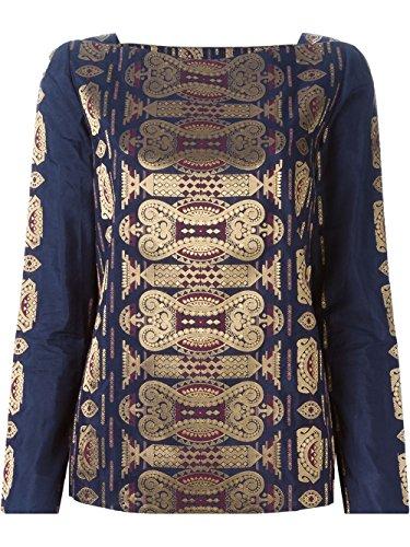 - Tory Burch Jacquard Cotton/Silk Tunic, Navy Blue/Metallic Gold - 2 XSmall