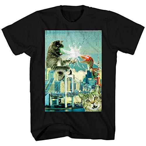 Cat Fight Dinosaur Laser Classic Retro Funny Humor Pun Adult Men's Graphic T-Shirt Tee Shirt (Black, Large)
