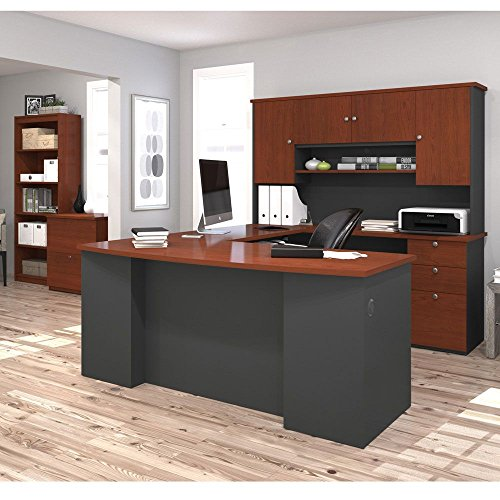 Manhattan Complete U-Shaped Workstation Weight: 577 lbs Bordeaux Melamine Top & Fronts/Graphite Melamine Base & Sides/Bordeaux Bookcase and File by Bestar