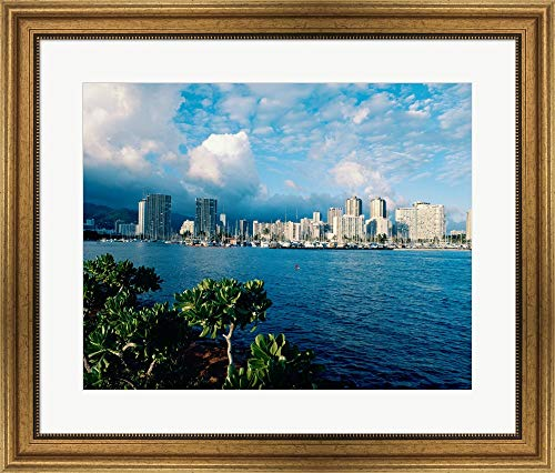 Buildings on The Waterfront, Waikiki Beach, Honolulu, Oahu, Hawaii, USA Framed Art Print Wall Picture, Wide Gold Frame, 28 x 24 inches