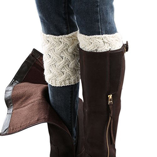 FAYBOX Short Women Crochet Boot Cuffs Winter Cable Knit Leg Warmers Ivory -