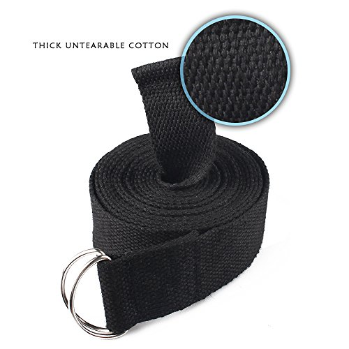 Cordking Stretching Yoga Strap,10FT Extra Long Soft Durable Cotton and Adjustable D Ring Buckle Suitable for Holding Poses, Improving Flexibility and Physical Therapy(Black)