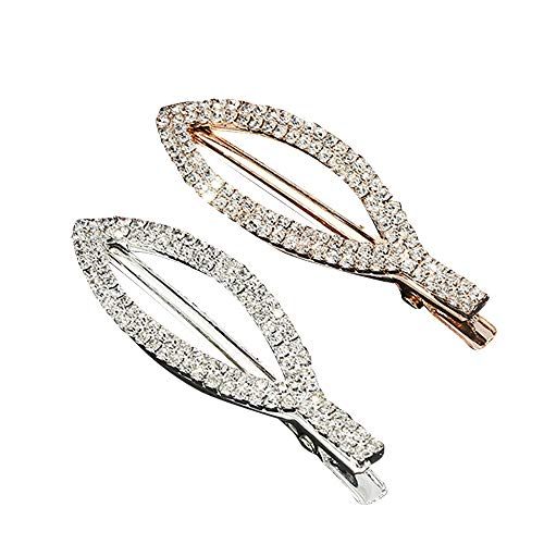 Stones Sparkly - Sparkly Gold and Silver Tone Stone Metal Hair Clips Beads Duckbill Clips Rhinestone Hair Barrettes with Teeth Hair Pins Hair Slide Stylish for Women Girl Hair Jewelry Hairdress